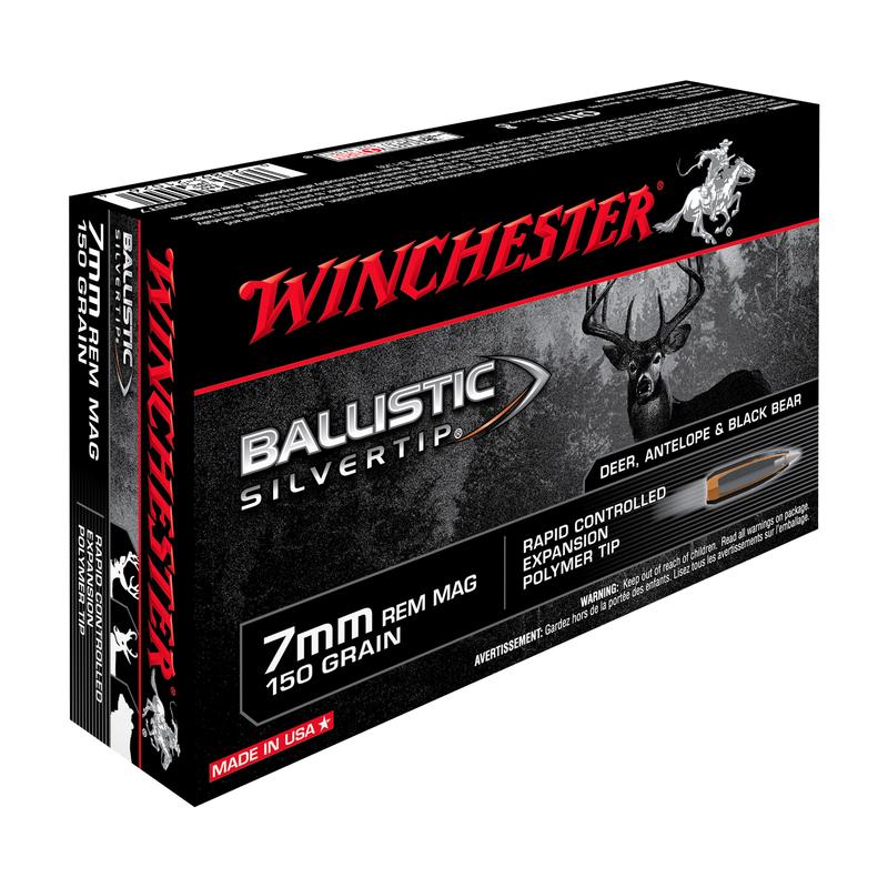 Boîte de 20 cartouches WINCHESTER Cal. 7 mm Rem Mag 150 gr BALLISITIC SILVERTIP
