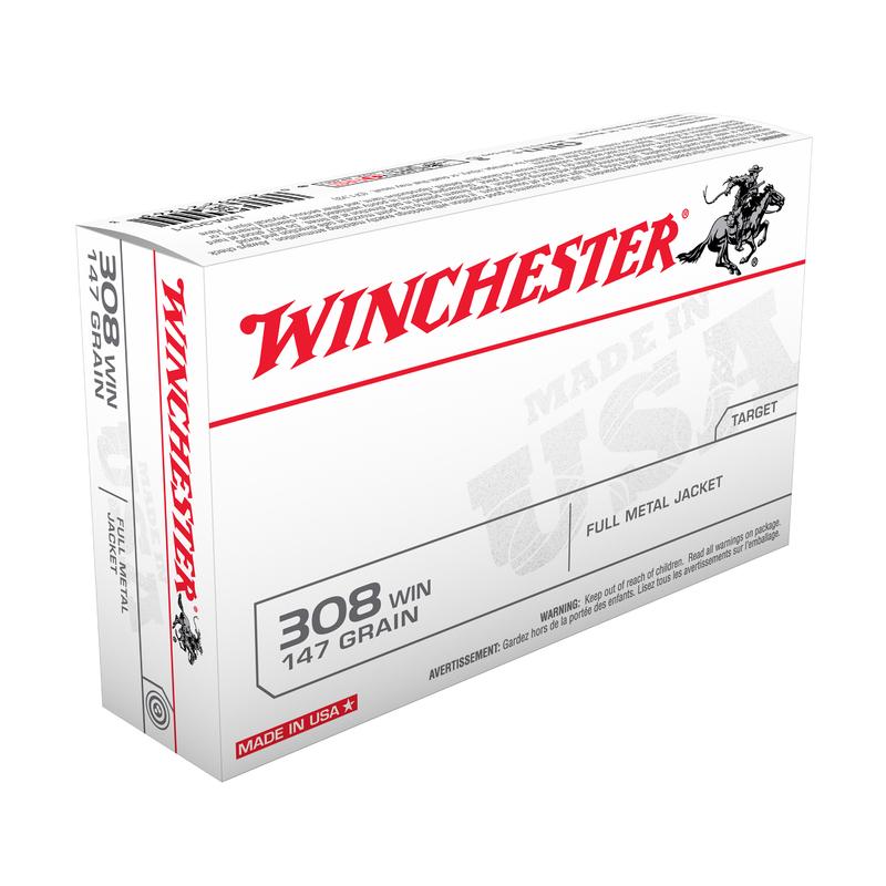 Boîte de 20 cartouches WINCHESTER Cal. 308 Win 147 gr - 9.53 g FMJ
