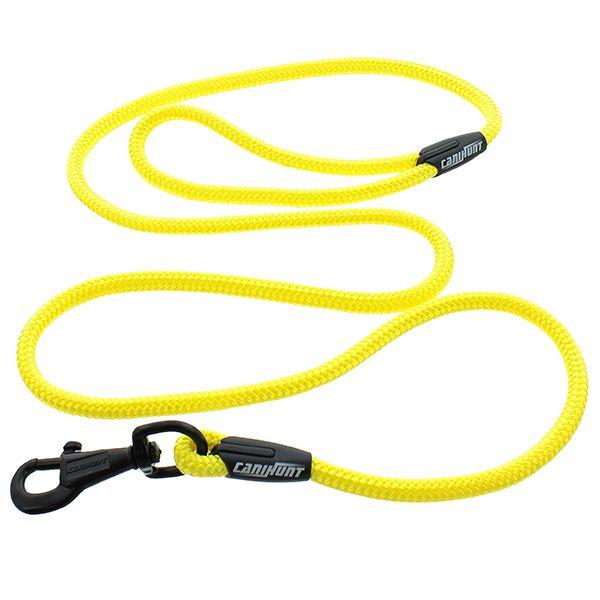 Laisse tressée simple rond jaune fluo 150cm CANIHUNT