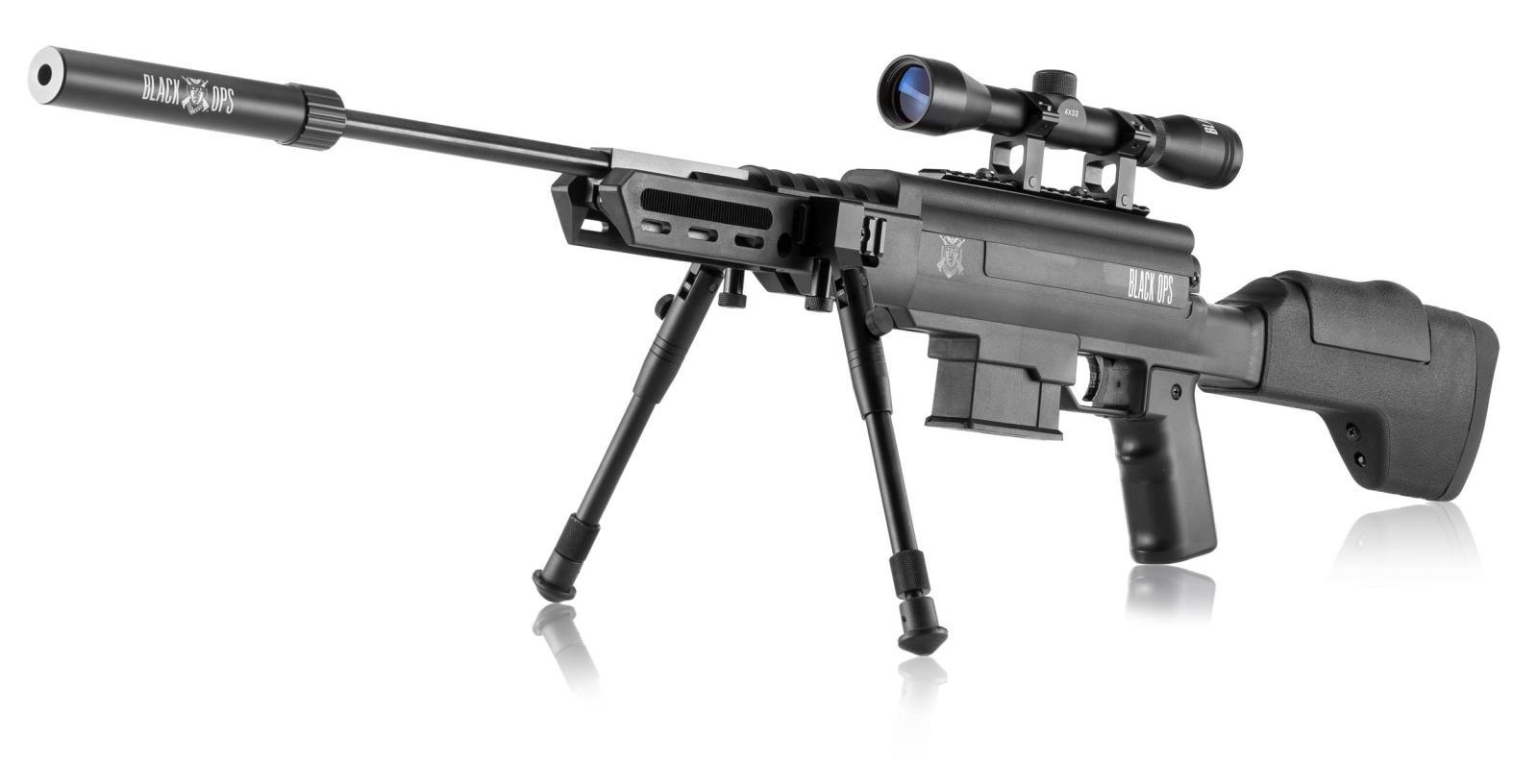 Pack carabine à air comprimé BLACK OPS 4.5 mm avec Bipied, lunette et silencieux
