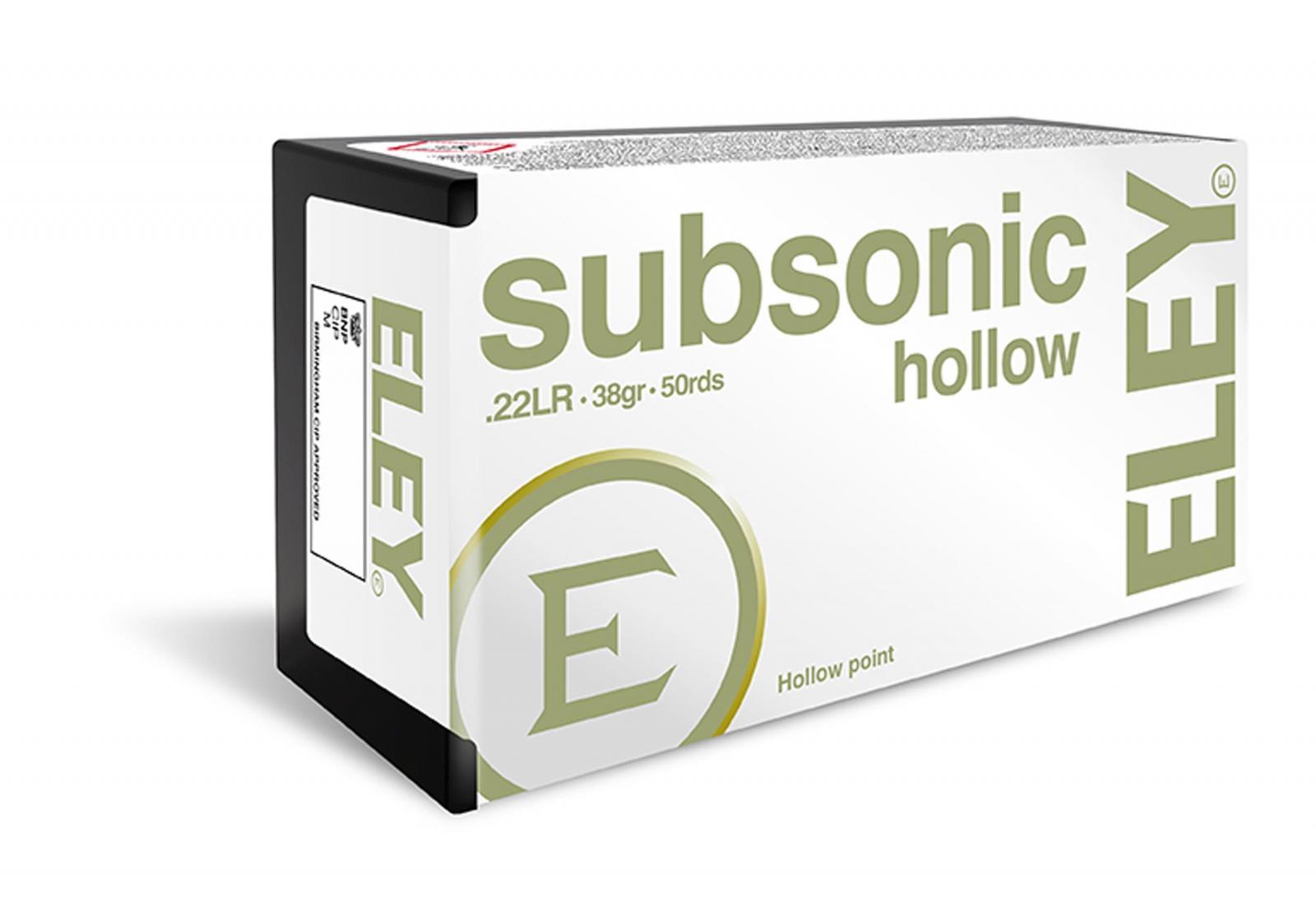 Boîte de 500 munitions 22 Lr ELEY Subsonique Hollow Point