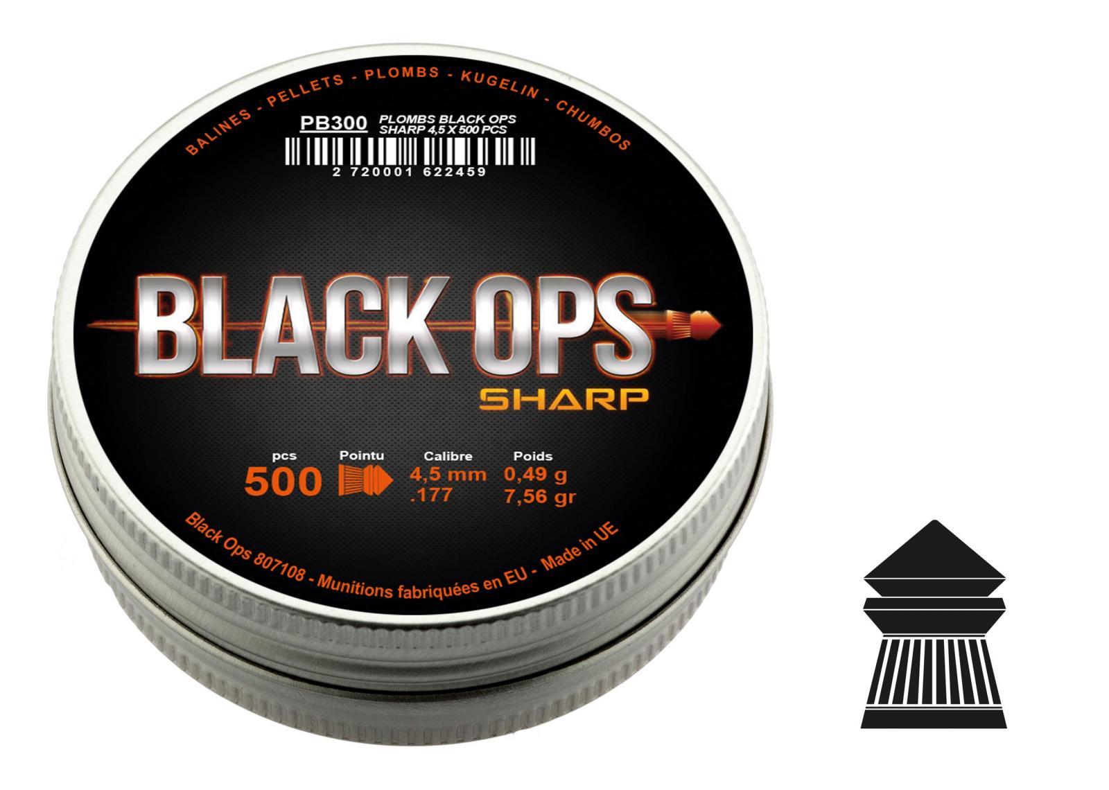 Boîte de 500 plombs 4.5 mm BLACK OPS Sharp  à tête pointue