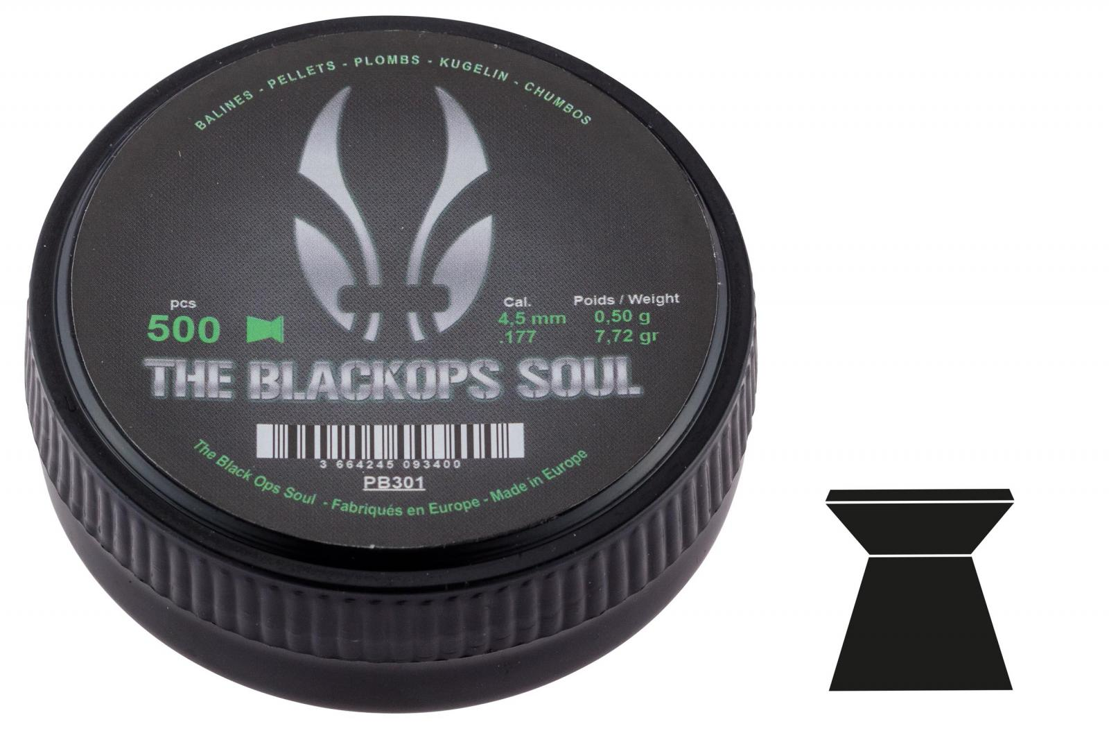 Boîte de 500 plombs BLACK OPS 4.5 mm à tête plate