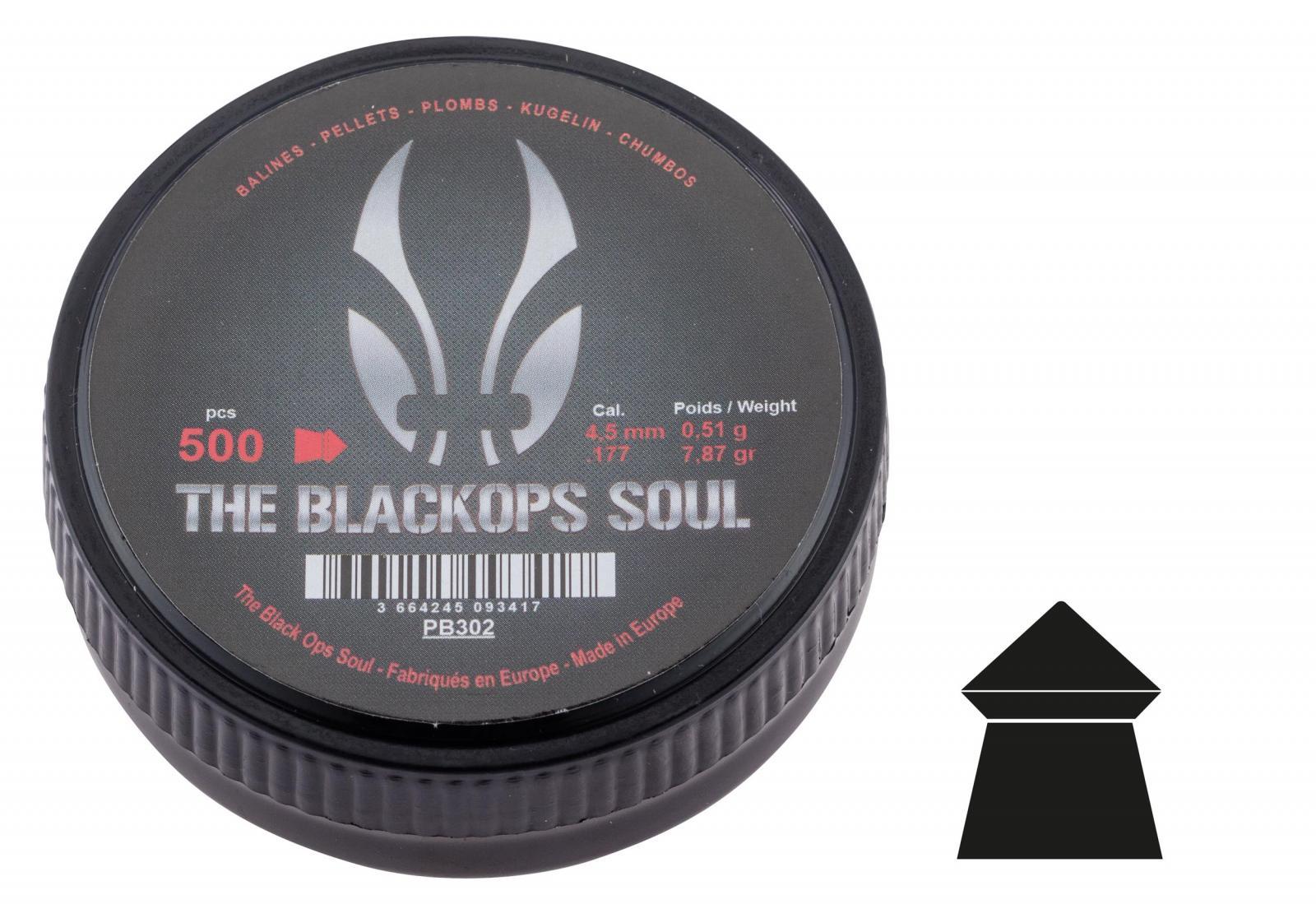 Boîtede 500 plombs BLACK OPS à tête pointue cal. 4.5 mm