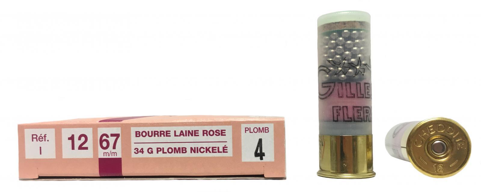 Boite de 10 cartouches 12 / 67 BOURRE laine ROSE 34 grs I1
