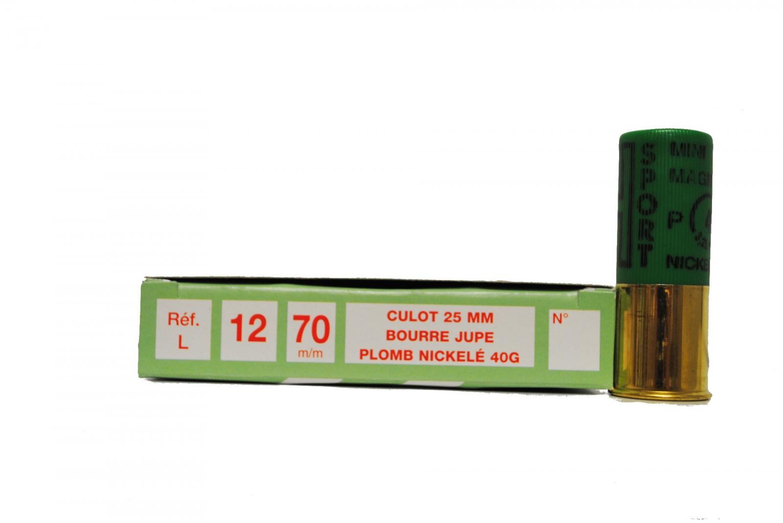 Boite de 10 cartouches 12 / 70 grand culot MINI MAGNUM 40 grs L1