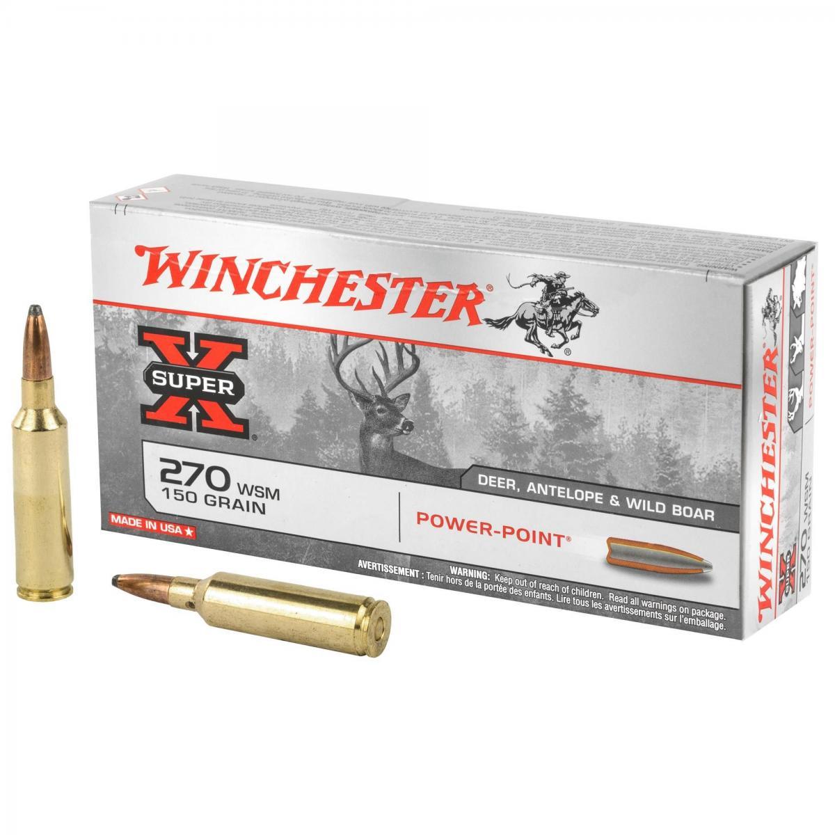 Boite de 20 cartouches WINCHESTER Power Point calibre 270 WSM X270WSM