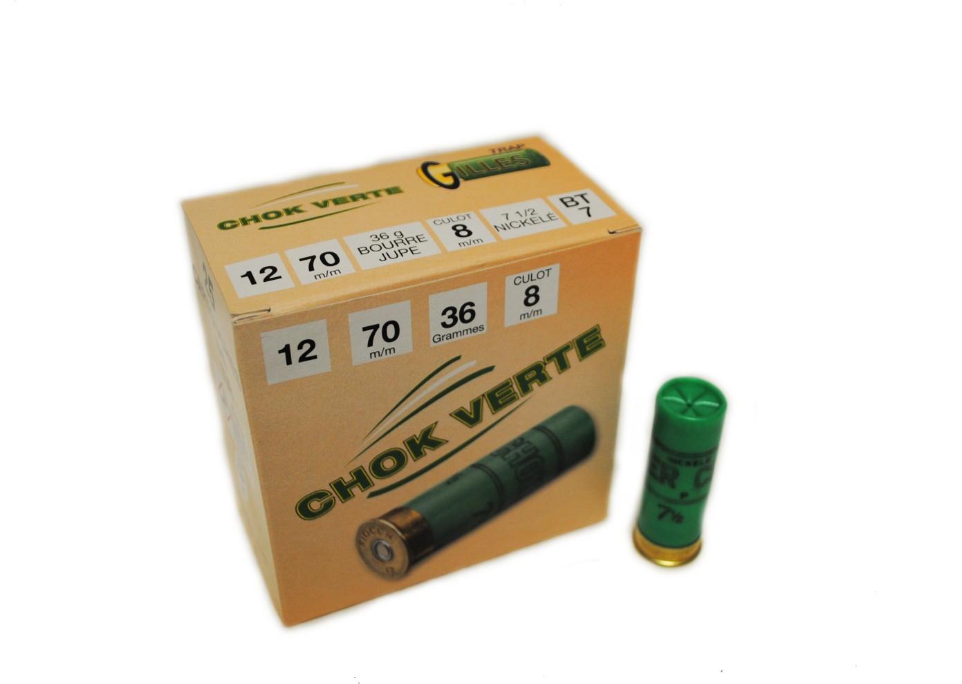 Boite de 25 cartouches CHOK VERTE cal 12 BT7