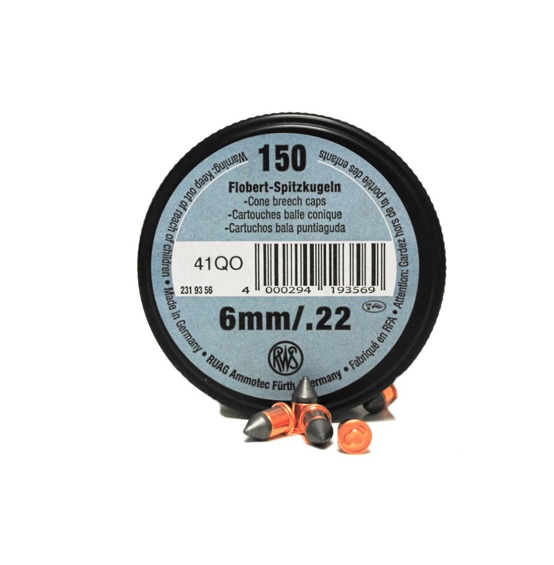 Boite de 150 bosquettes cal 6 mm / 22 lr RWS
