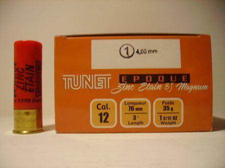 Boite de 25 cartouches TUNET calibre 12/76 EPOQUE 35 ZINC ETAIN Bourre Jupe TZE2