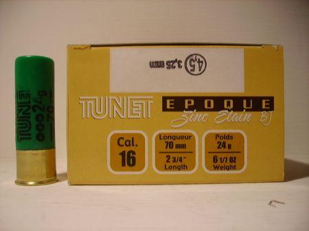 Boite de 25 cartouches TUNET calibre 16/70 EPOQUE ZINC ETAIN 24 grs BOURRE JUPE TZE4