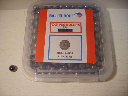Boite de 250 balles rondes BALLEUROPE calibre 44 (.454) BA454