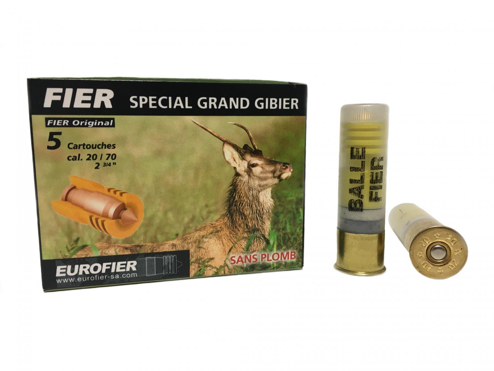 Boite de 5 balles FIER SPECIAL GRAND GIBIER calibre 20 FI3