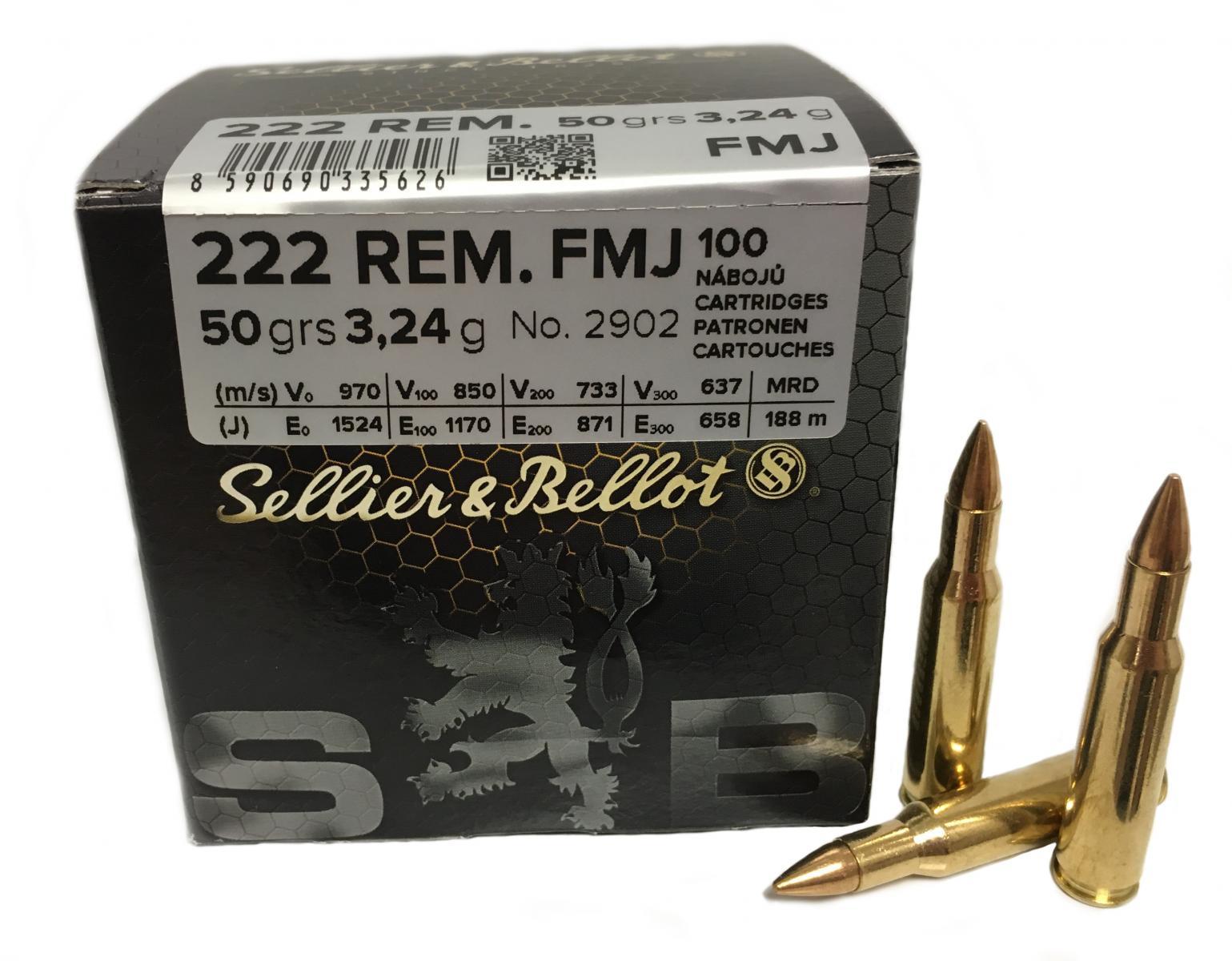 Boite de 100 cartouches calibre 222 SELLIER BELLOT  FMJ