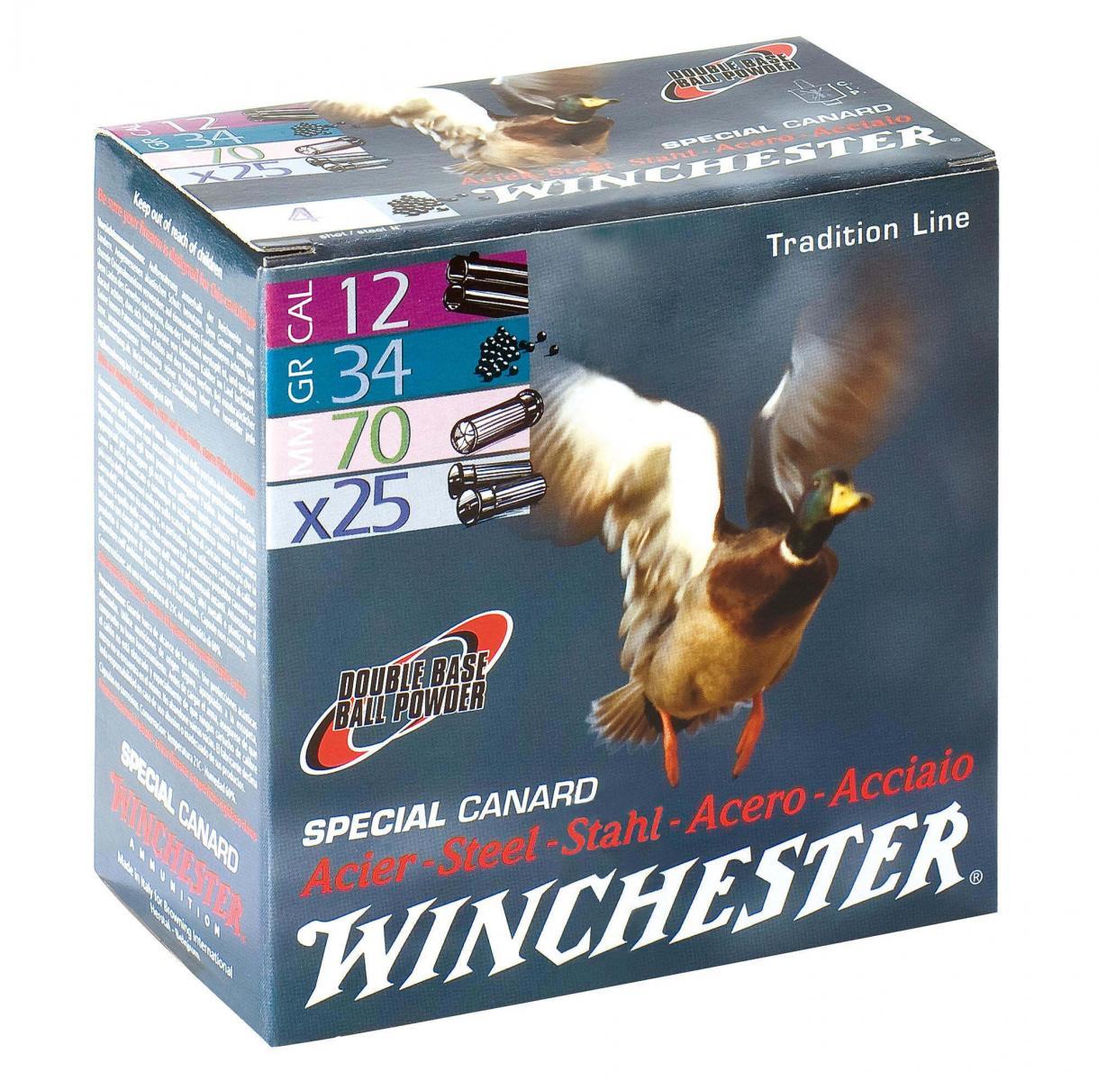 Boite de 150 cartouches WINCHESTER calibre 12 / 70 SPECIAL CANARD Acier WHSPD