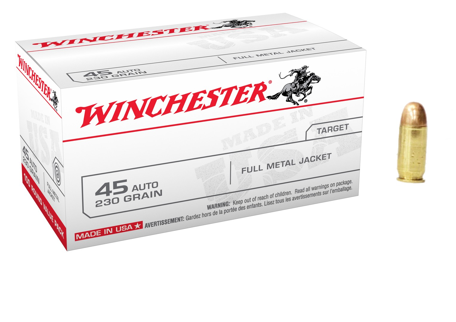 Boite 100 cartouches WINCHESTER 230 grs FMJ USA45AVP