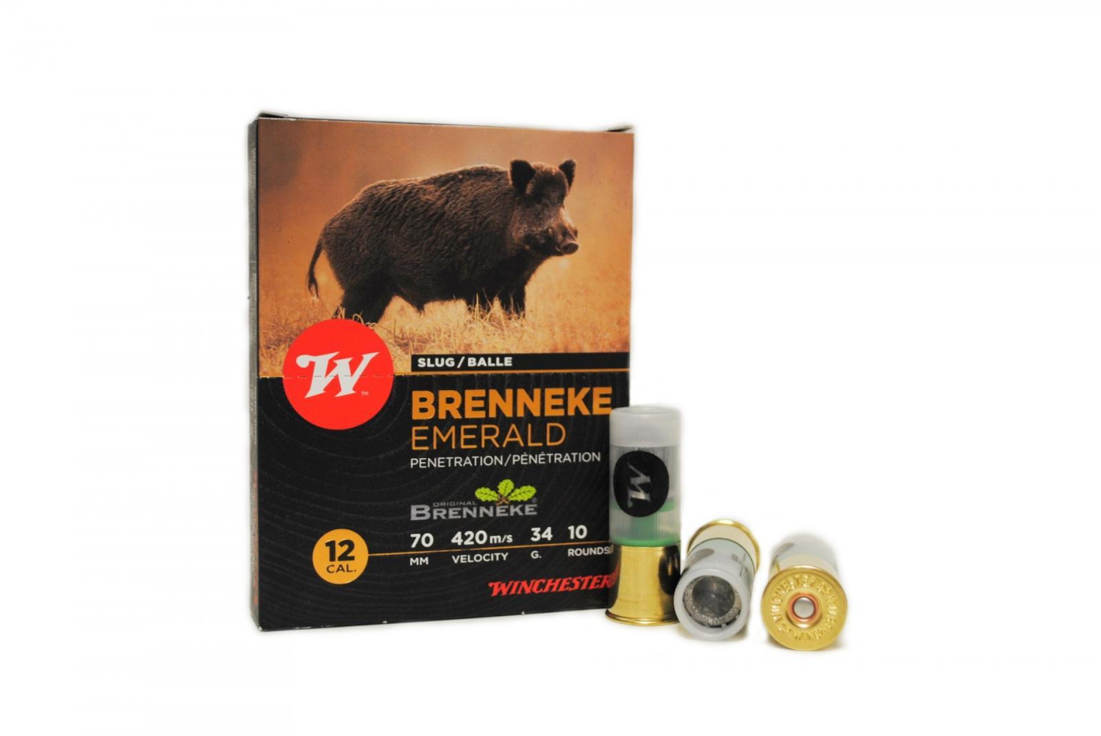 Boite de 10 balles WINCHESTER BRENNEKE calibre 12 / 70 HBK
