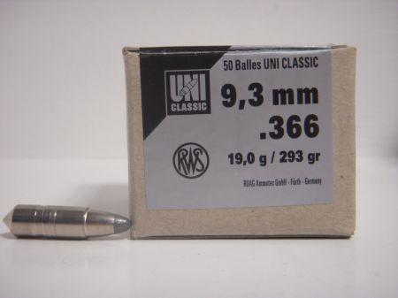 50 Ogives UNI CLASSIC RWS Calibre 9.3 mm 19 Gr R2145502