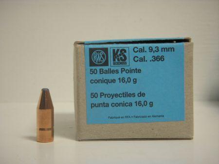 50 ogives KS RWS calibre 9.3 mm 16 Gr R2146452
