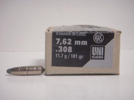 50 Ogives UNI RWS calibre 30 (.308)  11.7 Gr R2145499