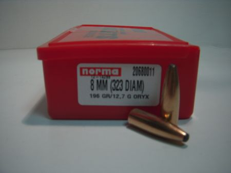 Ogives NORMA ORYX cal 8MM (.323) 196 grs N68001