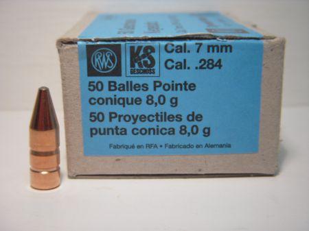 50 ogives KS RWS calibre 7 mm 123 grs  R2146290