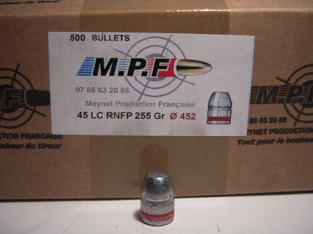 ogives 45LC (.452) 255 grs FP graissées MPF45LC