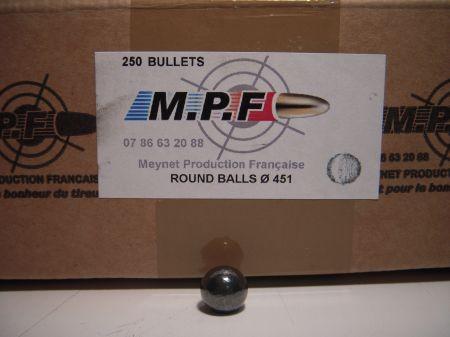 boite 250 balles rondes MPF calibre 44 (.451) MPF451