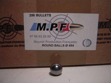boite 250 balles rondes MPF calibre 44 (.454) MPF454