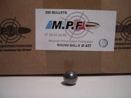 boite 250 balles rondes MPF calibre 44 (.457) MPF457