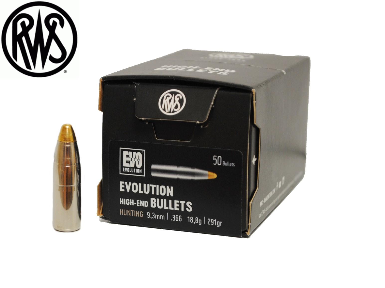 50 ogives RWS EVO calibre 9.3 mm 291 grs R2317412