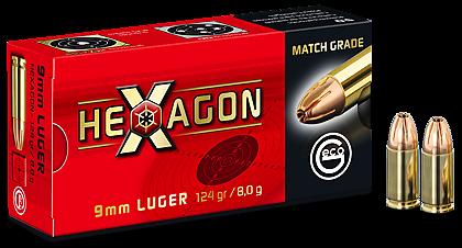 Boite de 50 cartouches GECO 9mm HEXAGON 124 grs
