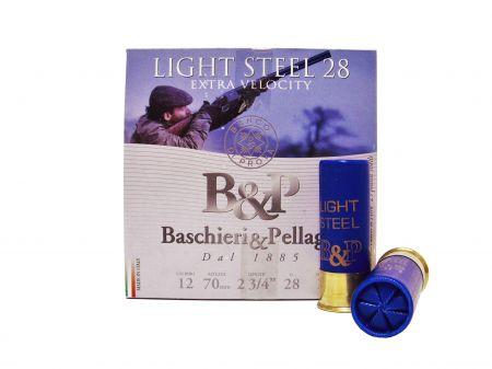Boite de 25 cartouches BASCHIERI&PELLAGRI Cal. 12/70  LIGHT STEEL 28 gr