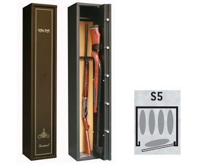 Armoire forte SENTINEL 4+1 armes + étagère avec passage pour 1 arme longue  S5