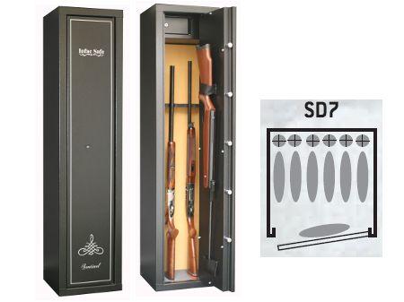 Armoire forte SENTINEL 6+1 armes avec lunette + coffre intérieur  SD7