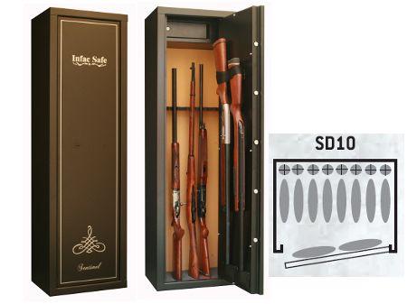 Armoire forte SENTINEL 8+2 armes avec lunette + coffre intérieur  SD10