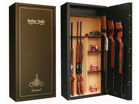 Armoire forte SENTINEL 11+3 armes avec lunette + coffre intérieur + étagères amovibles  SD14