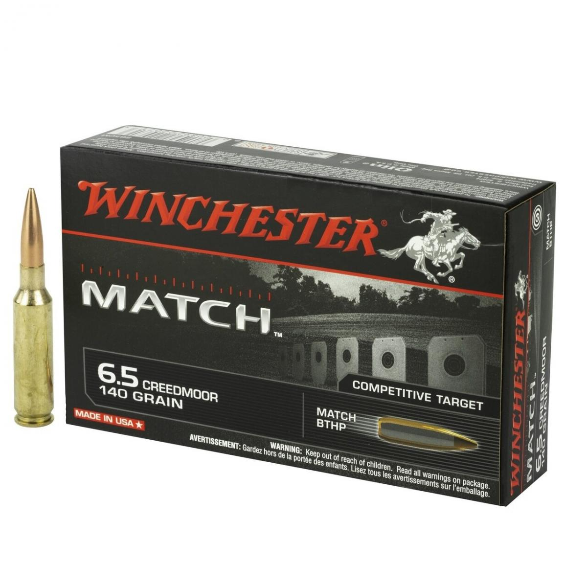 Cartouches WINCHESTER 6.5 CREEDMORE  140 grs Match BTHP