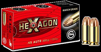 Boite de 50 cartouches GECO HEXAGON 45 ACP 200 grs