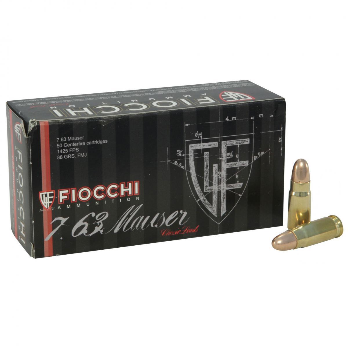 Boite de 50 cartouches FIOCCHI Cal. 7.63 Mauser