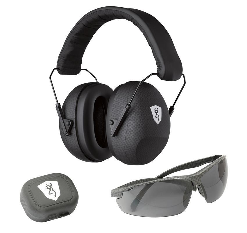 Casque anti bruit BROWNING + lunette de protection + bouchons oreille