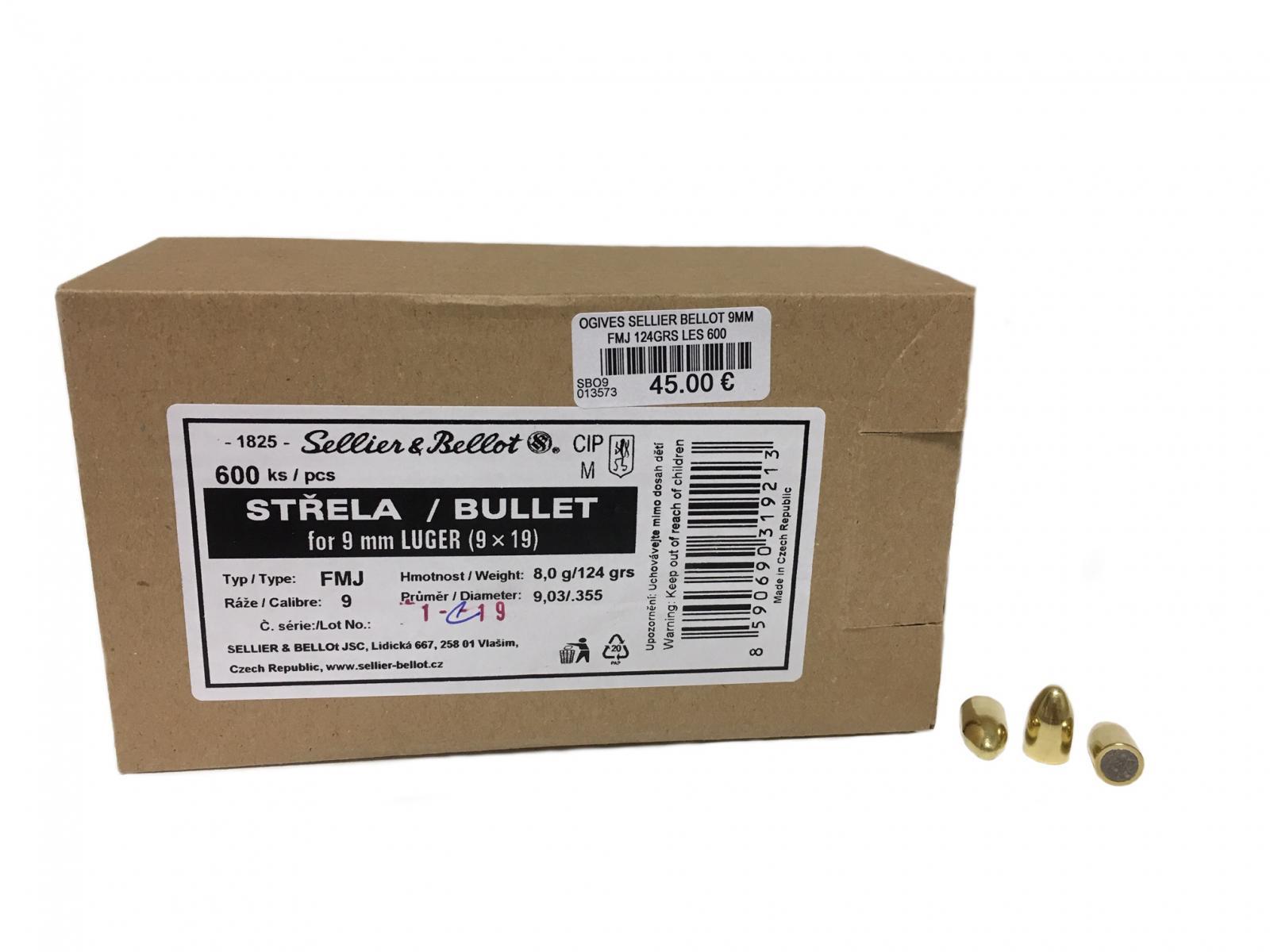ogives 9mm luger FMJ 124 grs  SBO9