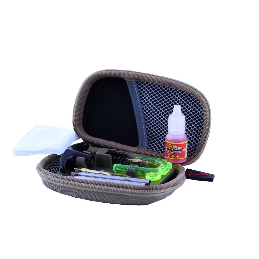Trousse compacte de nettoyage pour pistolet du calibre 32 au 45