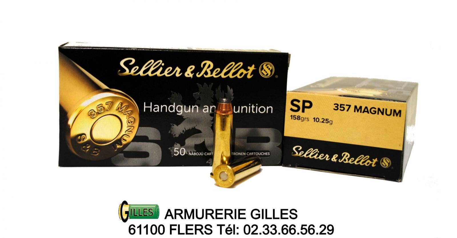Boite 50 cartouches 357 mag SELLIER BELLOT 158 grs JSP