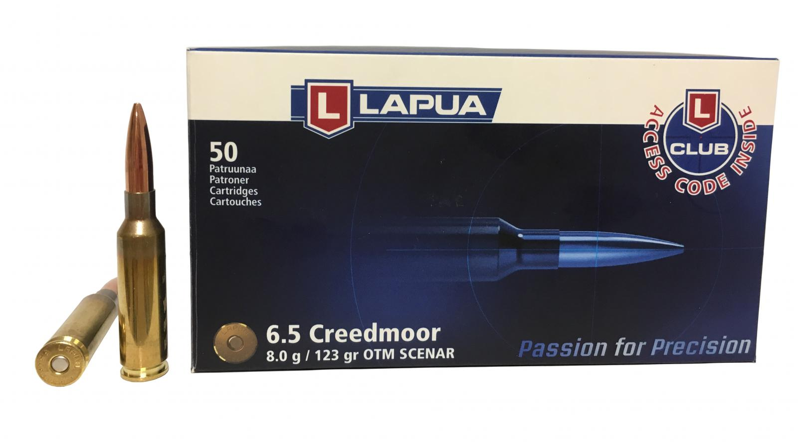 Boite de 50 Cartouches 6.5 Creedmore LAPUA  123 grs SCENAR