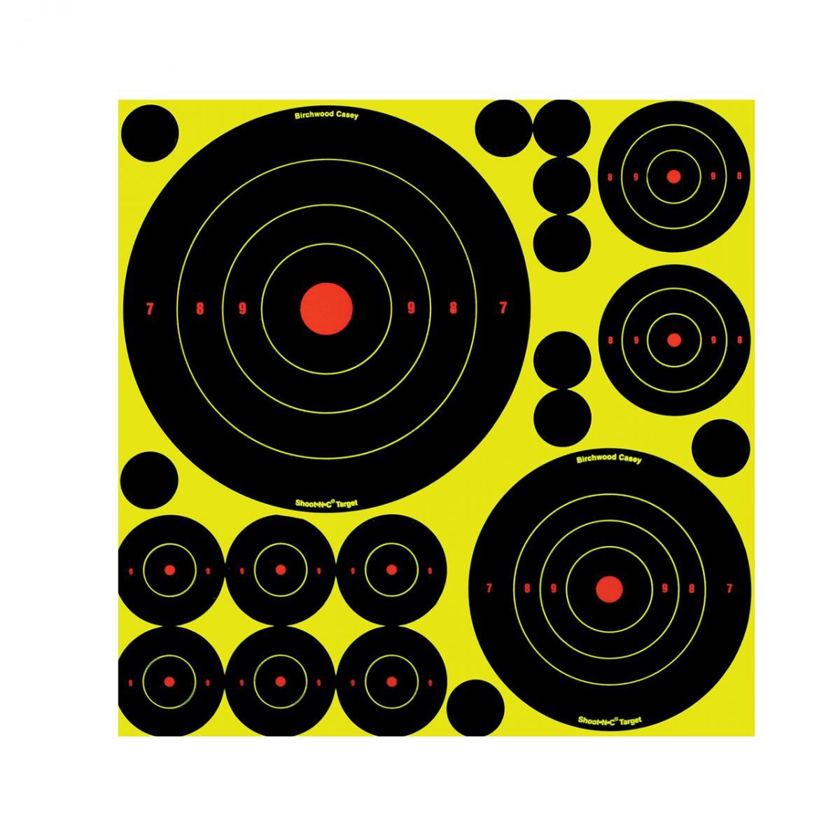 Cibles autocollantes avec impact fluo kit 50 pièces BA34018