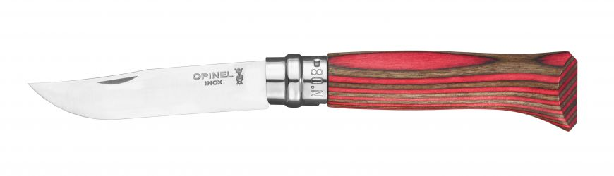 Couteau OPINEL N°8 Bouleau Lamellé Rouge OPI2390