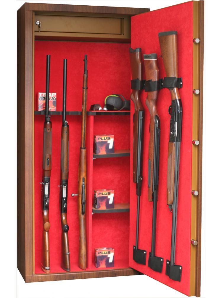 Armoire forte SENTINEL Couleur Bois 11 armes avec lunette +3  + coffre intérieur + étagères amovibles L14