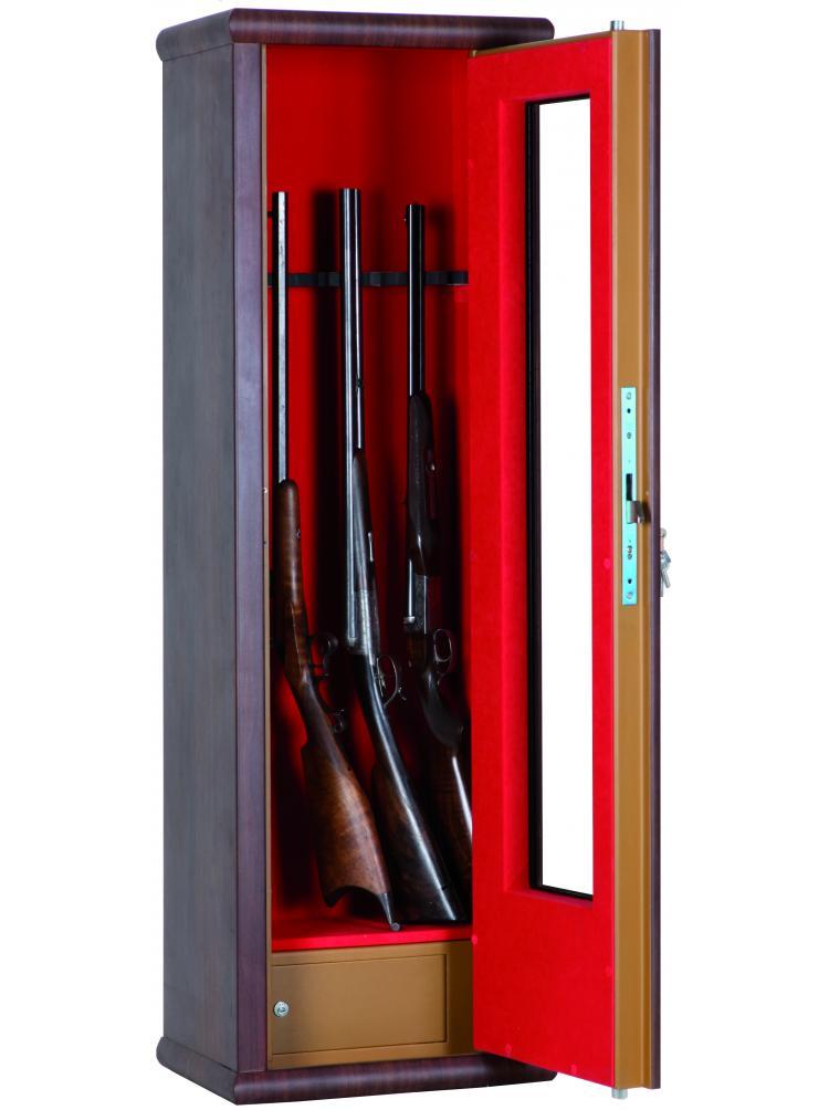Vitrine couleur bois aspect noyer 8 armes avec lunette + coffre intérieur LV8