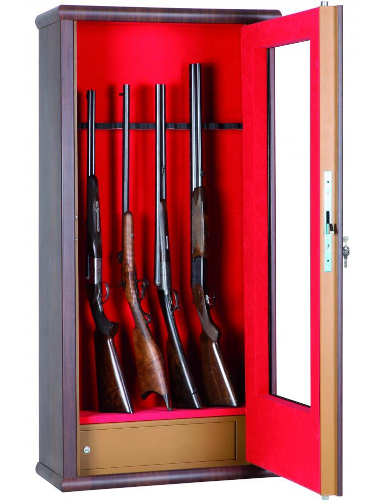 Vitrine couleur bois aspect noyer 12 armes avec lunette + coffre intérieur LV12